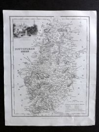 Bell & Fullarton C1835 Antique Map. Nottinghamshire, UK